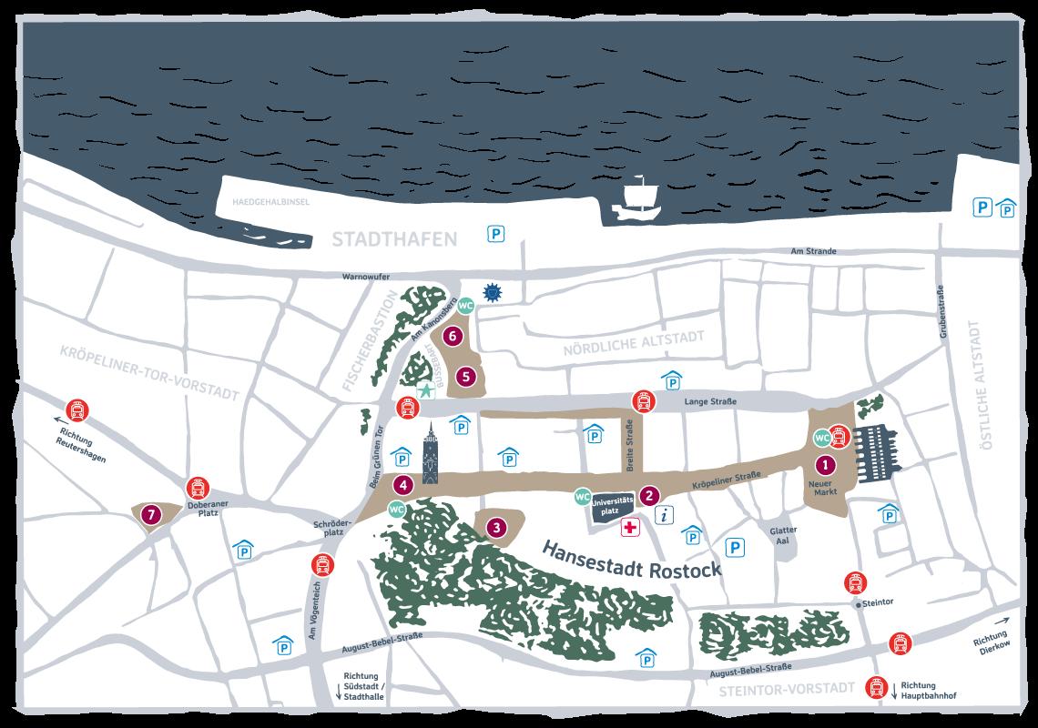 Lageplan Rostocker Weihnachtsmarkt